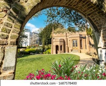 Dome brick architecture inside public park in Gunnersbury in spring season in London, England
