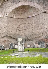 Dome and Broken Tiles at the Caracalla Baths Rome, Italy