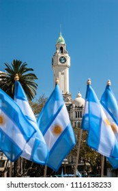 dome of the building of the legislature of the city with Argentine flags, May square. Buenos Aires Argentina.