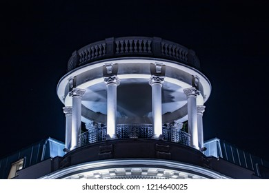The dome of the building at night