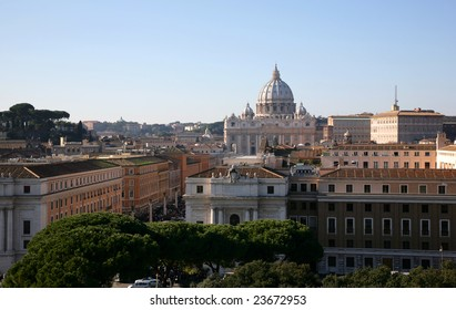 Dome of cathedral of Sainted Peter above the roofs of houses, Rome, Italy