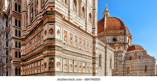 The dome of the cathedral of Santa Maria del Fiore - the cathedral in Florence, the most famous of the architectural structures of the Florentine Quattrocento. Florence. Italy.