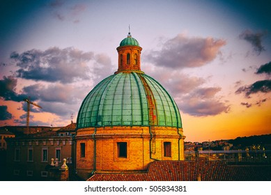 dome of Cathedral under golden rays of setting sun Ancona Italy