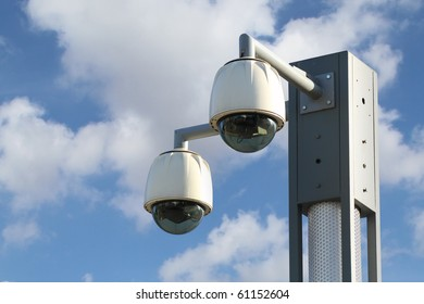 Dome CCTV  camera against the blue sky