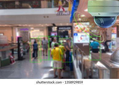 A Dome CCTV  infrared camera  technology 4.0 for look security area of people at shopping mall show signage with checking and courting people in green boxed security area