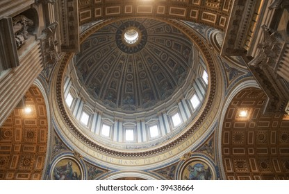 Dome and Ceiling of St Peter's Basilica, Vatican City, Rome, Italy