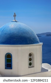 The dome of the church on the island of Santorini in Greece