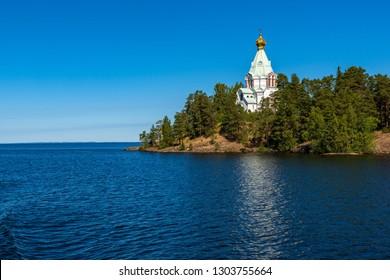 The dome of the church of St. Nicholas Skete. The wonderful island Valaam is located on Lake Lodozhskoye, Karelia. Balaam - a step to heaven