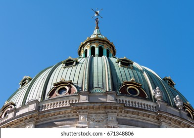 Dome of Frederik's Church, popularly known as the Marble Church in Copenhagen, Denmark