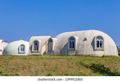 Dome houses, Kaga, Ishikawa Prefecture, Japan. Dome houses are assembled from prefabricated components.