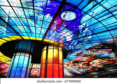The Dome of Light at Formosa Boulevard MRT Station : May 3rd, 2017 in KAOHSIUNG, TAIWAN. The largest stained glass word in the world.