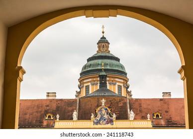 Dome of Melk Abbey a Benedictine monastery overlooking river Danube in Melk, Austria
