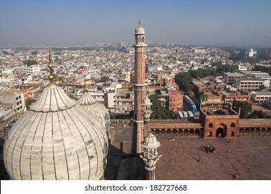 Dome an minaret of Jama Masjid Mosque in Delhi.