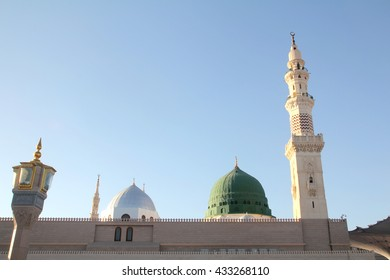 Dome and minaret of Nabawi Mosque (Mosque of the Prophet), in Medina Saudi Arabia. Nabawi mosque is Islam's second holiest mosque after Haram Mosque.