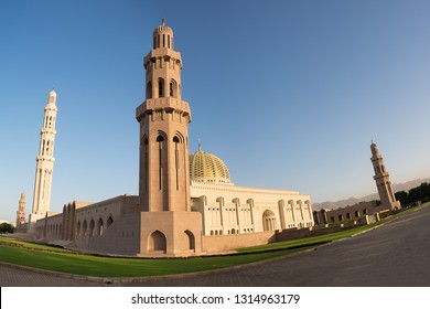 Dome and minaret of Sultan Qaboos Grand Mosque in Muscat (Oman)