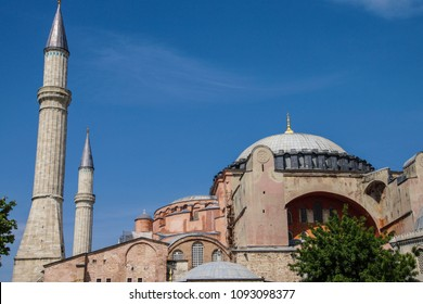 Dome and minarets of Hagia Sophia ( Ayasofya  , 6th century Byzantine cathedral then mosque, Sultanahmet, Istanbul, Turkey