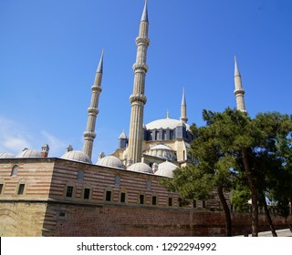 Dome and minarets of Sinan's Selimiye Mosque, 16th century,  in Edirne,Turkey