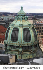 Dome of municipal house in Prague, Czech republic