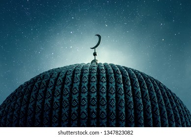 Dome of an old Mosque in the Night with stars on the Sky