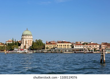 dome of the old ossuary monument in the island called Lido di Venezia in the Venetian lagoon in Italy