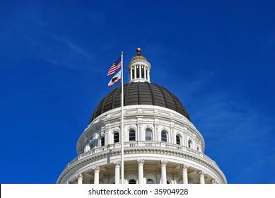 dome on capital building in sacramento california usa