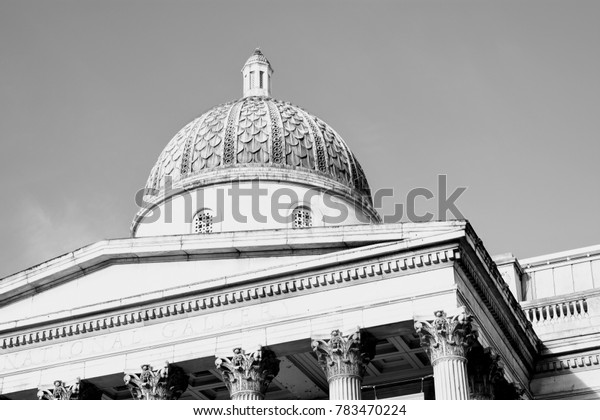 Dome on top of National Gallery at Trafalgar Square, London.