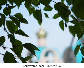 dome of orthodox church with birch branch. Orthodox cross