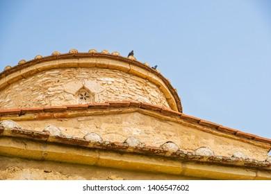 Dome of Panayia Kanakaria 6th century Byzantine Monastery Church originally containing Kanakaria mosaics in Lythrangomi, Island of Cyprus