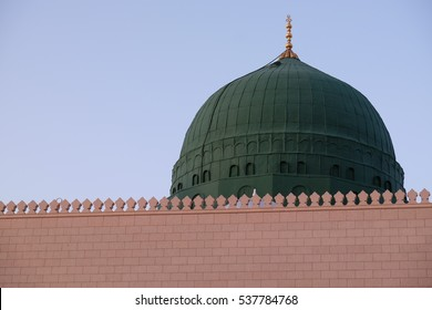 Dome of Prophet Muhammad's Mosque or Masjid Nabawi in Medinah, Saudi Arabia.