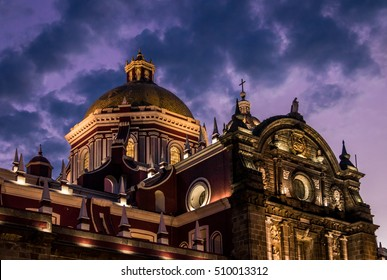 Dome of Puebla Cathedral at night - Puebla, Mexico