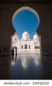 Dome reflection of Sheikh Zayed Mosque in Abu Dhabi, United Arab Emirates on a bright day with clear skies.