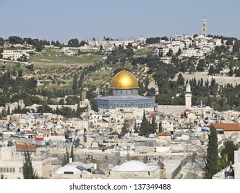 Dome of the Rock and Church of Mary Magdalene view on City of David. Jerusalem Old City, Israel.