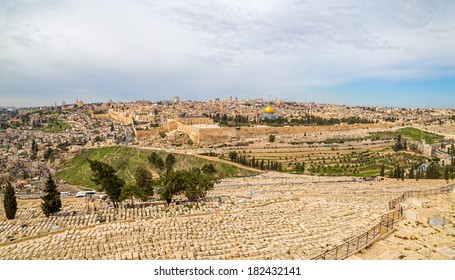 Dome of the Rock and Dome of the Holy Sepulcher in beautiful panorama of Jerusalem from Mount of Olives.