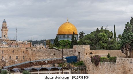 Dome of the Rock, an Islamic shrine located on the Temple Mount in the Old City of Jerusalem. The ancient architecture of the Old City of Jerusalem, Israel
