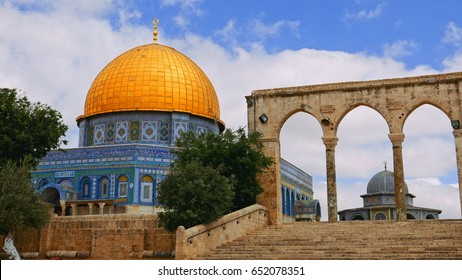 Dome of the Rock in Jerusalem on the top of the Temple Mount. Golden Dome is the most known mosque and landmark in Jerusalem.