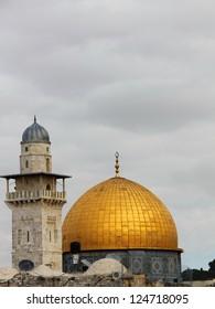 Dome of the Rock and  minaret Jerusalem,Israel