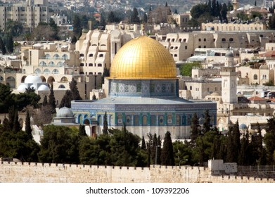 The Dome of the Rock Mosque on Temple Mount in Jerusalem old city, Israel.