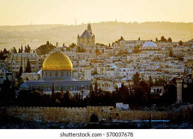 Dome of the Rock and Mount Zion at sunrise, Jerusalem Israel