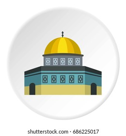 Dome of the Rock on the Temple Mount icon in flat circle isolated  illustration for web