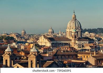 Dome of Rome historic architecture closeup, Italy