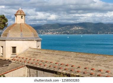 Dome and roof of the church of San Lorenzo (St. Lawrence) 1098-1130, in Porto Venere or Portovenere (UNESCO world heritage site), La Spezia, Liguria, Italy, Europe