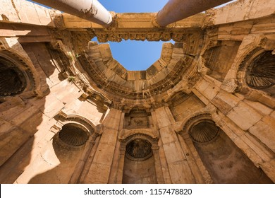 Dome roof cover over a circular niche in the Great court porticoes in Baalbek temple complex, Lebanon