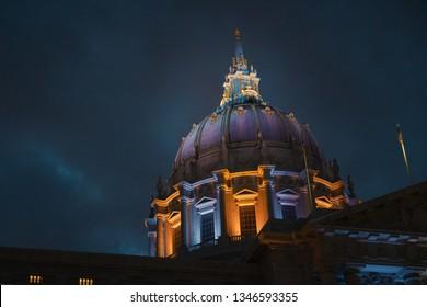 The Dome of the San Francisco City Hall Illuminated at Night