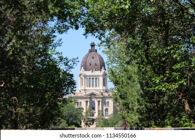 Dome Saskatchewan Legislature building in silhouette