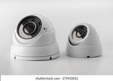 Dome secure cameras on light background, surveillance camera