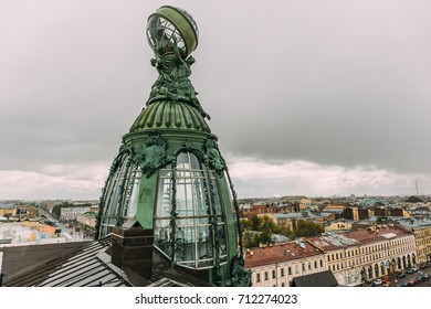 Dome of Singer House in Saint- Petersburg, Russia, view from roof