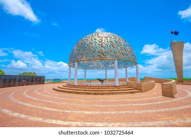 The dome of soul of the HMAS Sydney II Memorial in Geraldton, on hill in the middle of town, Western Australia. Sunny day with blue sky. Famous site in Geraldton.