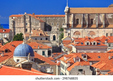 Dome of St Blaise Church and orange rooftops of traditional buildings from Dubrovnik old town, Croatia