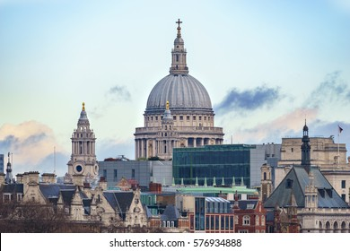 Dome of St Paul's Cathedral with blue sky, landmark of London,UK