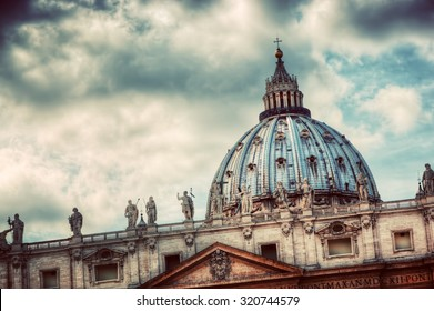 The dome of St. Peter's Basilica in Vatican City. The Pope's principal church. Vintage